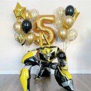 Комплект шаров в стиле Трансформеры на 5 лет золотого цвета