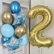 Композиция из воздушных шаров на 2 года с мраморными звездами
