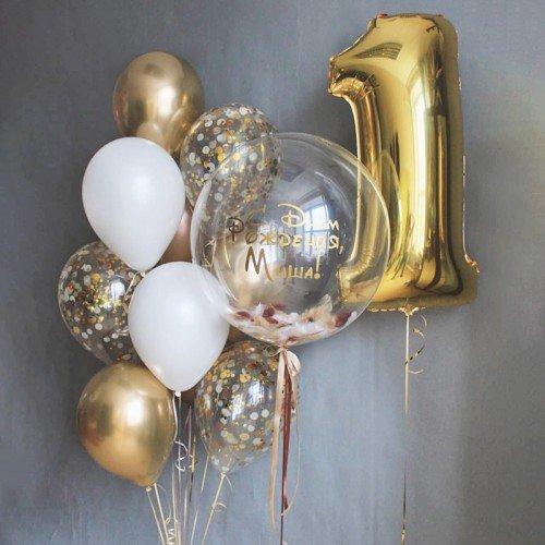 Шары на день рождения золотого цвета