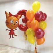 """Комплект шаров Три кота на 3 года """"Карамелька"""""""
