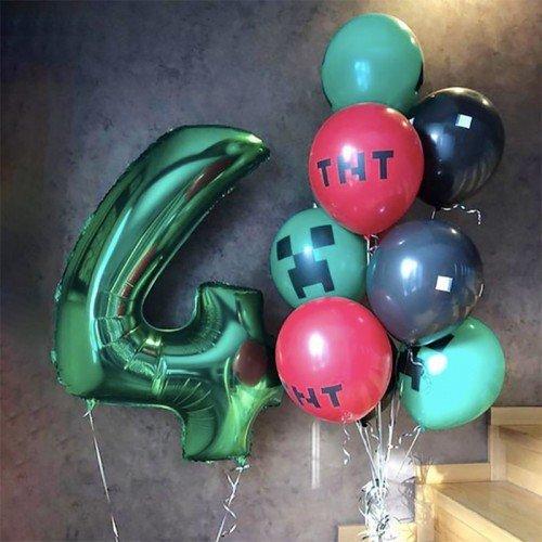 Воздушные шары в стиле майнкрафт