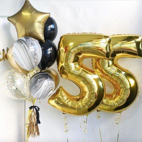 Шары 55 лет золотого цвета