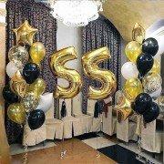 Шары на 55 лет с цифрами и фонтанами золотого цвета
