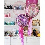 """Композиция из воздушных шаров """"Розовый мрамор"""""""