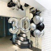 Шары воздушные на 30 лет с цифрами и агатами