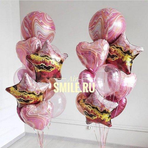 Фонтан из воздушных шаров розового цвета