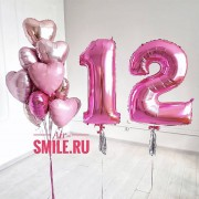 Воздушные шары на 12 лет малинового и розового цвета с цифрой