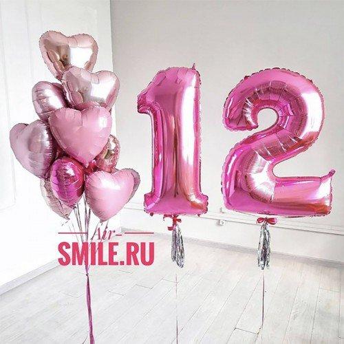Воздушные шары на 12 лет розового цвета