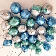 Набор шаров под потолок хром ассорти, микс из 10 шт