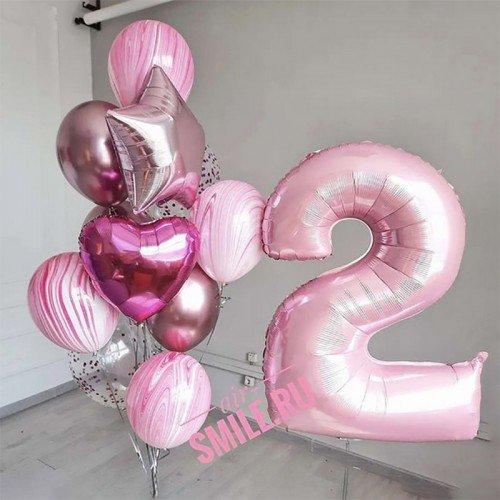 Воздушные шарики на 2 годика розового цвета