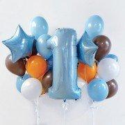 Шарики воздушные для мальчика 1 год с голубыми звездами