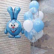 Комплект шаров с Крошем голубого цвета с конфетти