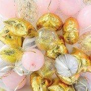 Шарики для новорожденных девочек под потолок розового и золотого цвета 30 шт