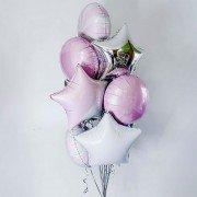 Шарики для новорожденных девочек розового и белого цвета