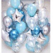 Шарики для новорожденных мальчиков серебряного и голубого цвета