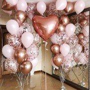 "Шары на рождение ребенка цвета розовое золото с конфетти ""Сердце"""