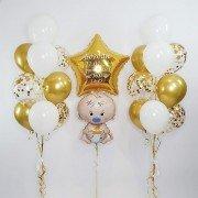 """Воздушные шарики на рождение ребенка """"Золотой малыш"""""""
