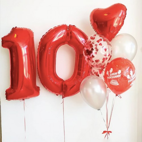 Шарики воздушные 10 лет девочке красного цвета