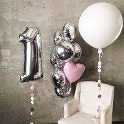 Шары на 1 годик серебряного цвета с гигантом