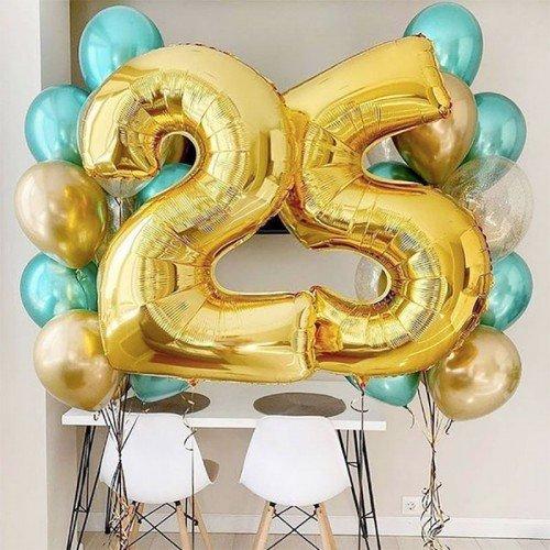 25 лет день рождения шарики золотого цвета