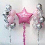 Шарики на рождение девочки с большой звездой розового цвета