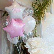 Шары на рождение дочери белого и розового цвета