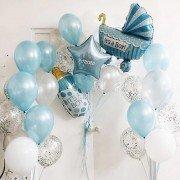 Шарики с рождением сына именные голубого цвета