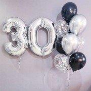 30 лет шары гелиевые черного и серебряного цвета