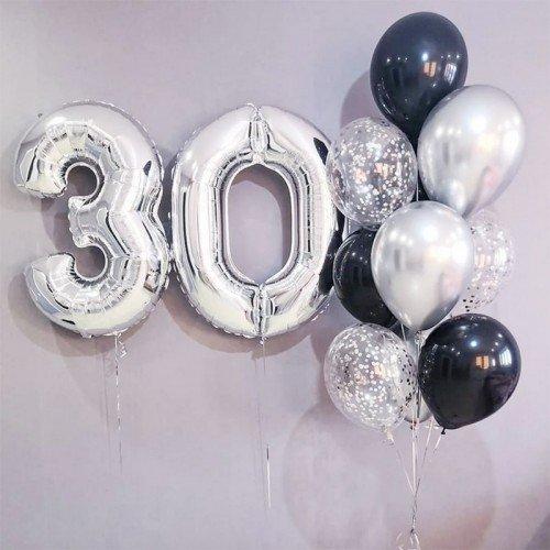 Шарики на 30 лет серебряного цвета фото