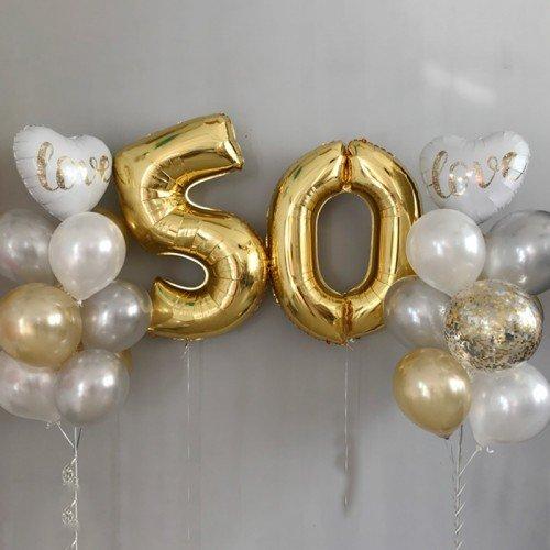 Шары 50 лет фото золотого цвета
