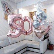 Шарики на юбилей 50 лет женщине розового и серебряного цвета