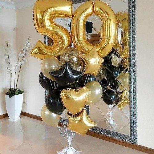 50 лет воздушные шары золотого цвета