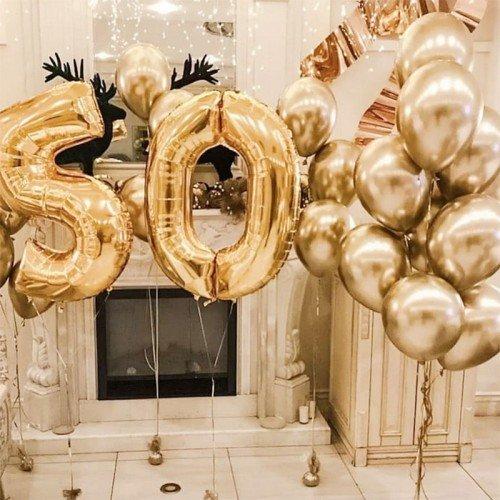 Шары 50 лет оформление в золотом цвете