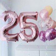 """Шары на день рождения 25 лет девушке """"Алая роза"""""""