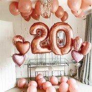 Шарики на день рождения 20 лет цвета розовое золото