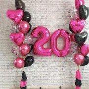 """Шары на день рождения 20 лет девушке """"Малиновое вино"""""""