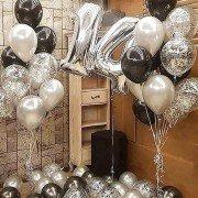 Шары на др 14 лет черного и серебряного цвета