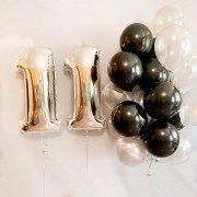 """11 лет шарики на день рождения """"Черный и белый"""""""