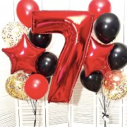 Шарики воздушные 7 лет яркого красного цвета