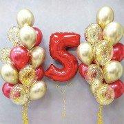 Композиция из шаров на 5 лет красного и золотого цвета