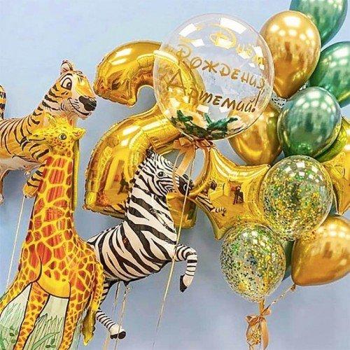 Набор шаров для мальчика 2 года с зеброй и жирафом