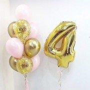 Шары на день рождения девочке 4 года золотого и розового цвета