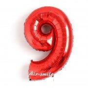 Фольгированная цифра 9 красного цвета