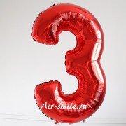 Фольгированная цифра 3 красного цвета