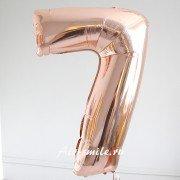 Фольгированная цифра 7 цвета розовое золото
