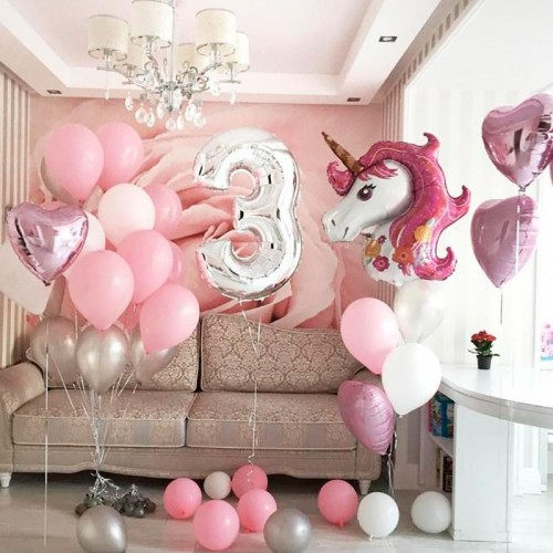 Воздушные шары 3 года с единорогом розовые