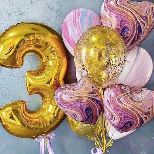 Шарики на три года девочке розового и золотого цвета