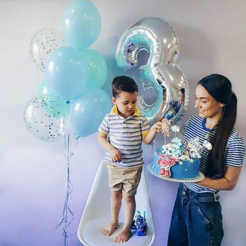 Шары на 3 годика мальчику голубого цвета с цифрой
