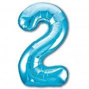 Шар цифра 2 голубого цвета