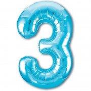 Шар цифра 3 голубого цвета